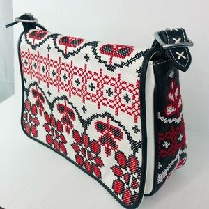 Isabella Fiore Bag White Leather Embroidered